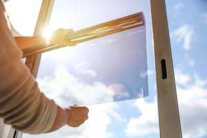 Home window tinting shielding the sun.